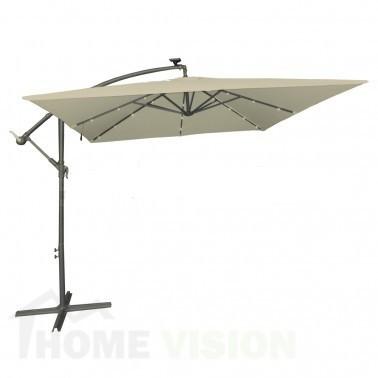 Градински чадър TLB017-S Taupe с LED осветление 250см