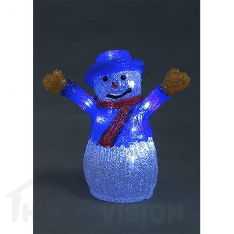 Светеща фигура снежен човек 27см