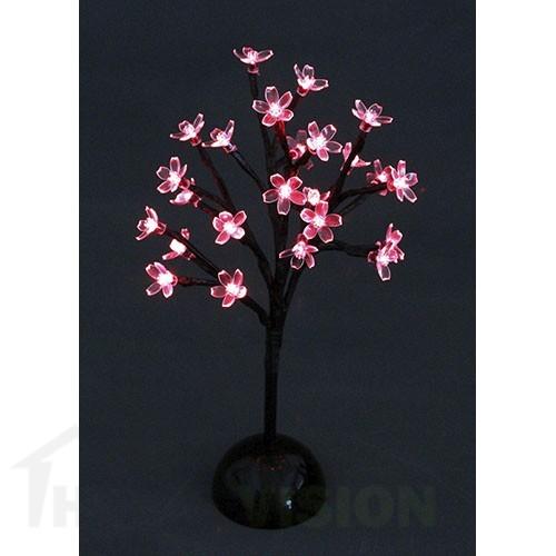 Светещо дърво с червени цветчета 37см