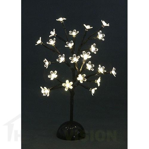 Светещо дърво с топло бели цветчета 37см