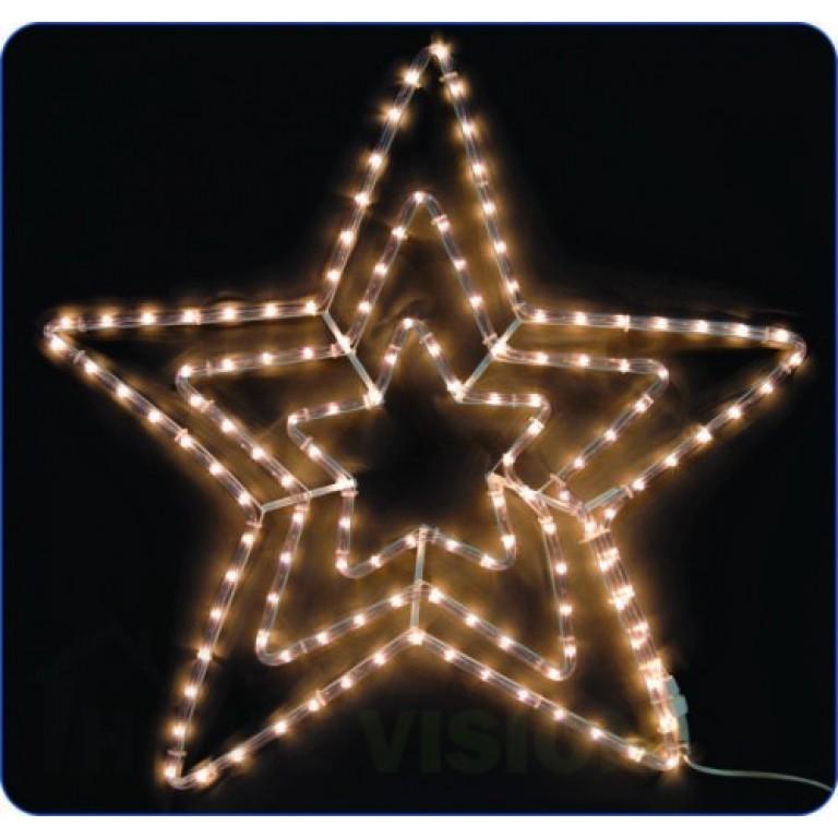 Светеща фигура тройна звезда 70см