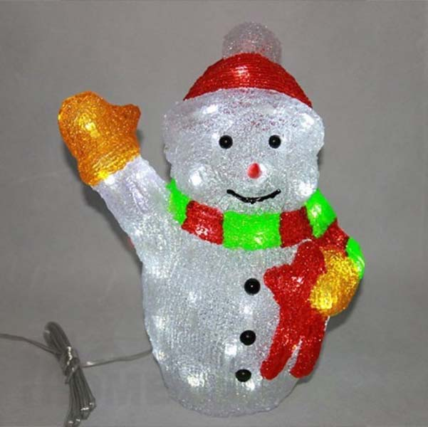 Светеща фигура снежен човек 33см