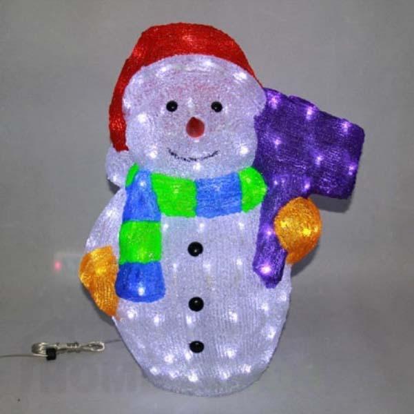Светеща фигура снежен човек 50см