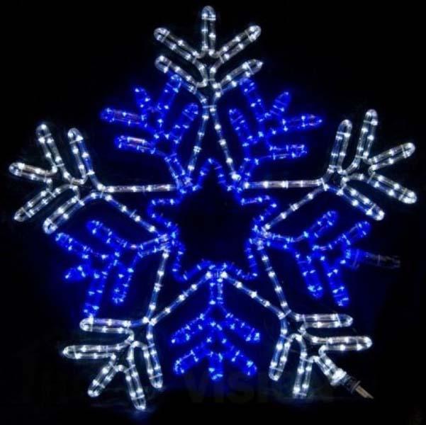 Светеща фигура звезда със снежинка 88см