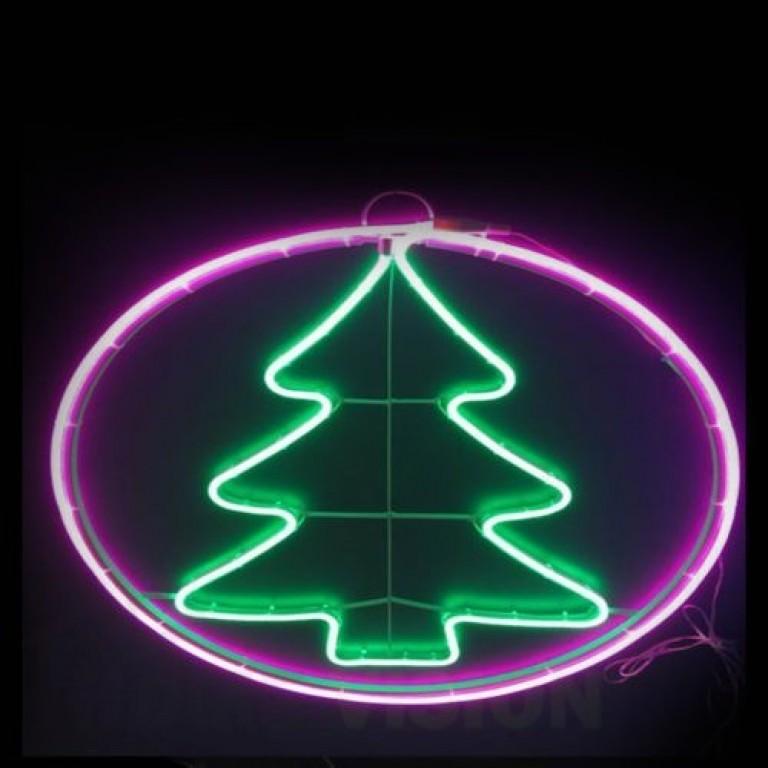 Светеща фигура елха в кръг НЕОН 65см