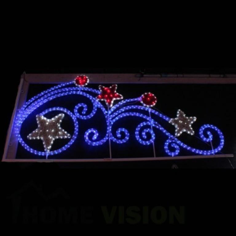 Светеща фигура орнамент звезди и кръгове в рамка