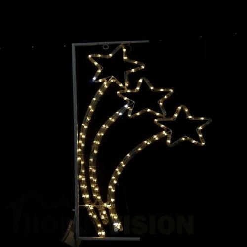 Светеща фигура орнамент три звезди в рамка