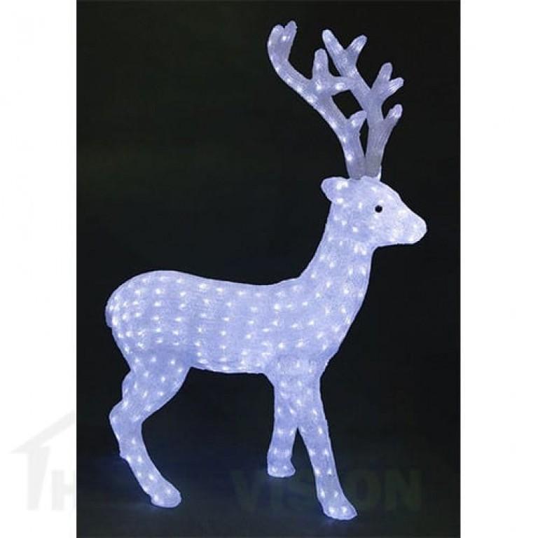 Светеща фигура бял елен 90см