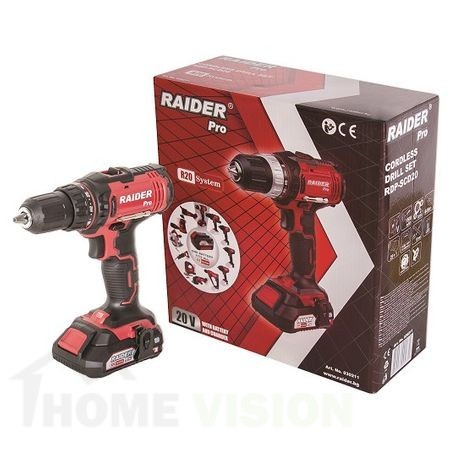 Бормашина акумулаторна Raider R20 RDP-SCD20 с батерия и зарядно