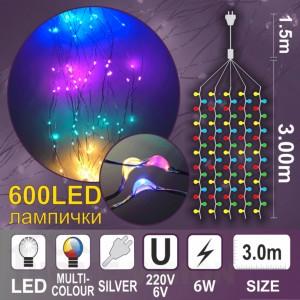Каскада КУПЪР 600 разноцветни LED /диодни/ лампички
