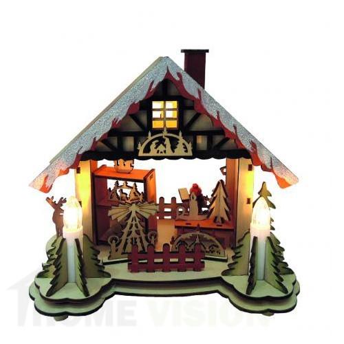 Коледна светеща къщичка с 5 LED светлини