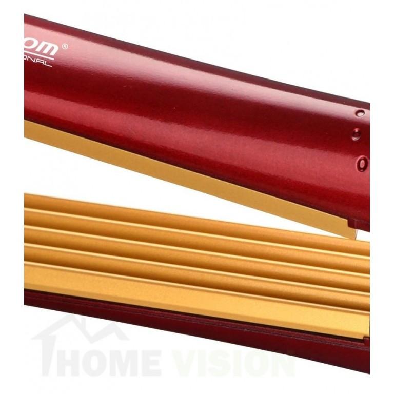 Професионална Преса за коса Елеком ЕК-5015 с керамично покритие - блясък и дълготраен ефект. Максималната температура на пресата е 200 градуса. Модела разполага със светлинен индикатор и въртящ се на 360 градуса захранващ кабел.