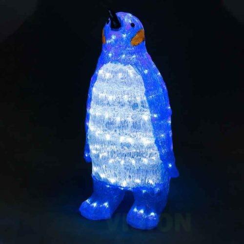 Светеща фигура СИН ПИНГВИН 150 бели LED лампички, 67см