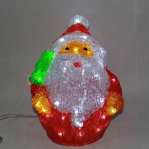 Светеща фигура Дядо Коледа 50 бели LED диодни лампички, 28см