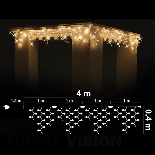 Висулка 100 топло бели 3000K LED /диодни/ лампички + 20 бели мигащи LED лампички, 4м*0.4м, черен кабел