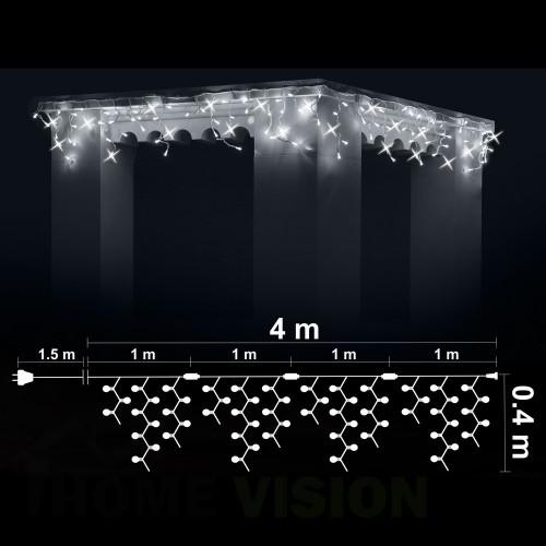 Висулка 100 бели LED /диодни/ лампички + 20 бели мигащи LED лампички, 4м*0.4м, черен кабел