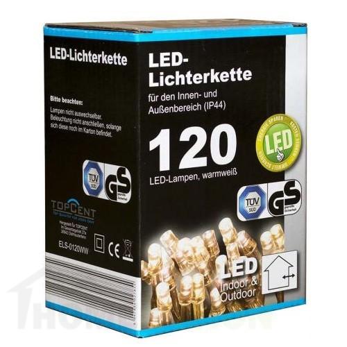 Коледни LED лампички с адаптер 120бр-12м