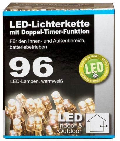 Коледни LED лампички 96бр с батерии и 9 функции-7,70м