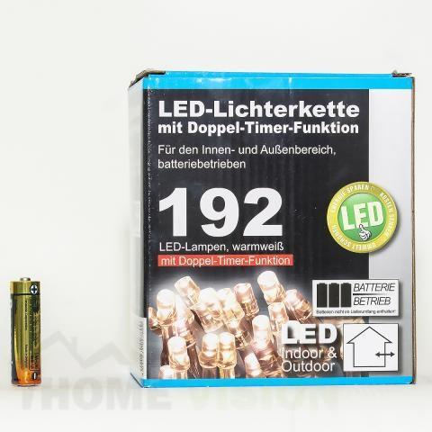 Коледни LED лампички 192бр с батерии и 9 функции-14,90м