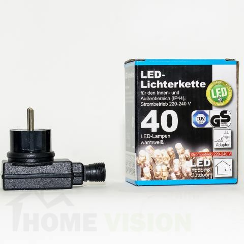 Коледни LED лампички с адаптер 40бр-6м