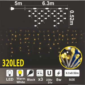 Висулак с трансформатор 31V: 320 топло бели LED /диодни/ лампички, 6.3м*0.52м, черен кабел