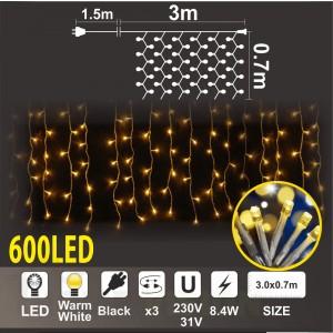 Завеса с трансформатор 31V: 600 топло бели LED /диодни/ лампички, 3м*0.7м, черен кабел