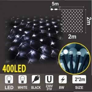 Мрежа с трансформатор 31V: 360 бели LED /диодни/ лампички + 40 бели мигаши LED лампички