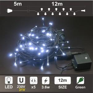 Гирлянд 120 бели LED диодни лампички, 12м, зелен кабел