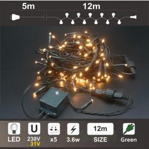 Гирлянд 120 топло бели LED диодни лампички, 12 м, зелен кабел