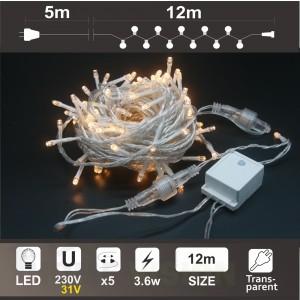 Гирлянд с трансформатор 31V: 120 топло бели LED /диодни/ лампички, 12м, прозрачен кабел