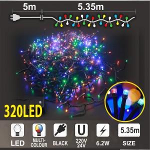 Клъстер 320 разноцветни LED /диодни/ лампички, размер 5.35м, черен кабел