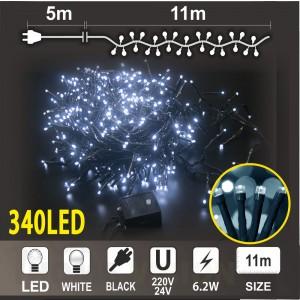 Клъстер 340 бели LED /диодни/ лампички, размер 11м, черен кабел