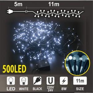 Клъстер 500 бели LED /диодни/ лампички, размер 11м, черен кабел