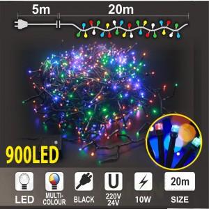 Клъстер 900 разноцветни LED /диодни/ лампички, размер 20м, черен кабел