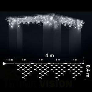 Висулка 100 бели LED /диодни/ лампички + 20 бели мигащи LED лампички, 4м*0.4м, бял кабел