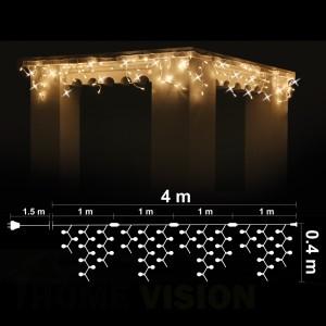 Висулка 100 топло бели 3000K LED /диодни/ лампички + 20 бели мигащи LED лампички, 4м*0.4м, бял кабел