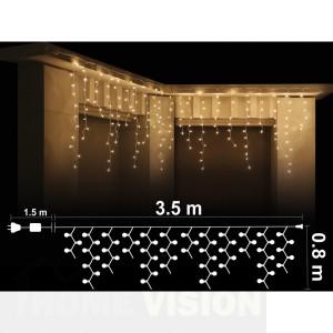 Висулка 200 топло бели LED /диодни/ лампички, 3.5м*0.8м, прозрачен кабел