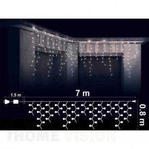 Висулки 400 бели LED лампички, размер 7 х 0.8м, прозрачен кабел