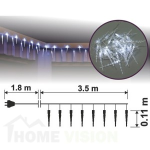 Висулки ЛЕДЕНИ ВИСУЛКИ 30 бели LED лампички, размер 3.5 х 0.11м, прозрачен кабел