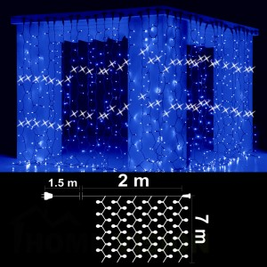 Завеса 1400 сини LED /диодни/ лампички, 2м*7м, бял кабел