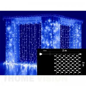 Завеса 360 сини и 40 бели мигащи LED лампички, размер 2 х 2м, бял кабел
