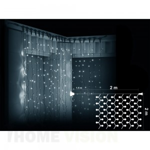 Завеса 400 бели LED лампички, размер 2 х 2м, черен кабел