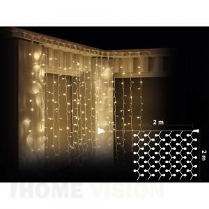 Завеса 400 топло бели LED лампички, размер 2 х 2м, бял кабел