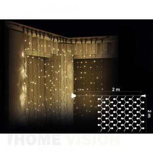 Завеса 400 топло бели LED лампички, размер 2 х 2м, черен кабел