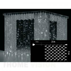 Завеса 600 бели LED лампички, размер 2 х 3м, черен кабел