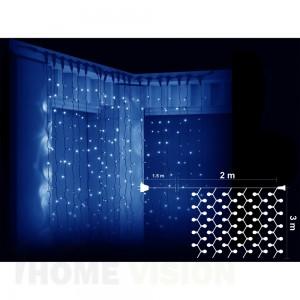 Завеса 600 сини LED лампички, размер 2 х 3м черен кабел