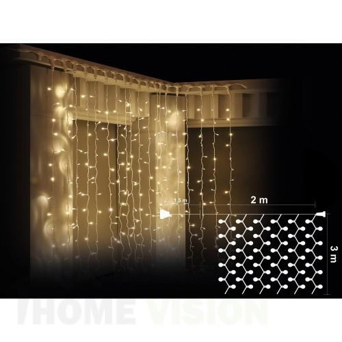 Завеса 600 топло бели LED лампички, размер 2 х 3м, бял кабел