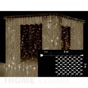 Завеса 600 топло бели LED лампички, размер 2 х 3м, черен кабел
