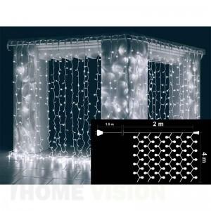 Завеса 720 бели и 80 бели мигащи LED лампички, размер 2 х 4м, бял кабел