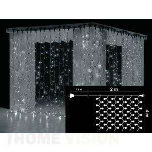 Завеса 720 бели и 80 бели мигащи LED лампички, размер 2 х 4м, черен кабел